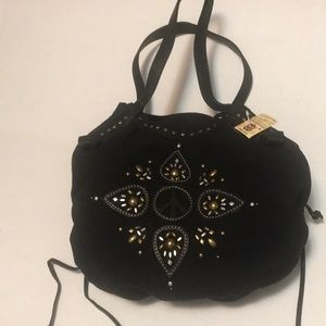 Lucky NEW peace sign Leather trim tote/purse